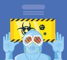 homme en tenue de protection et signe de danger biologique infection à coronavirus