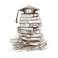 Pile d'éducation dessinée à la main de croquis de livres