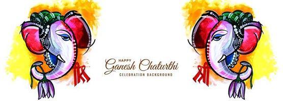 bannière du festival de ganesh chaturthi vue de côté d'éléphant aquarelle