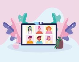 réunion en ligne ou vidéoconférence affichée sur un écran d'ordinateur