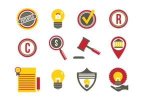 Idées de protection des brevets Icônes plates