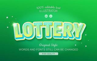 effet de texte de loterie dégradé vert étincelant vecteur