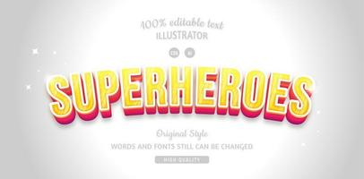 super-héros jaune avec effet de texte ombre rouge vecteur