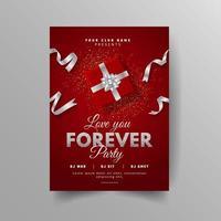 flyer de fête d'amour rouge avec boîte-cadeau