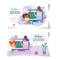 enseignants et filles qui étudient via des appareils électroniques