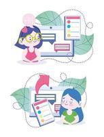 filles utilisant une tablette pour étudier en ligne vecteur