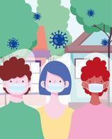 personnes portant des masques faciaux à l'extérieur pendant l'épidémie de coronavirus vecteur