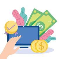 paiement en ligne efficace via un ordinateur portable vecteur