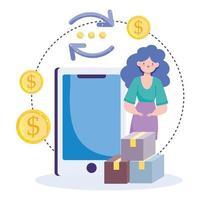 icône de transaction bancaire et argent en ligne