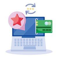 paiement en ligne, e-commerce et transaction bancaire via ordinateur vecteur