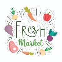 lettrage de marché frais avec des icônes de produits