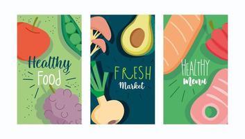 aliments frais sains, ensemble de modèles de brochure de menu vecteur