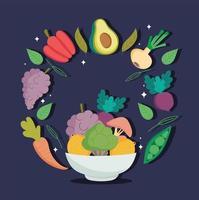 un bol d'aliments biologiques sains vecteur