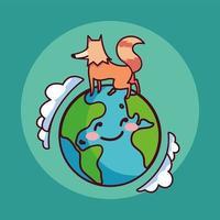 planète terre souriant et un renard