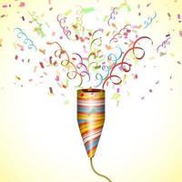 popper de fête qui explose avec des confettis vecteur