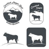emblème de taureau angus certifié en blanc et noir