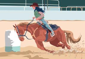 Coureur de canot de cow-girl vecteur