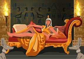 Cleopatra assise sur son trône vecteur