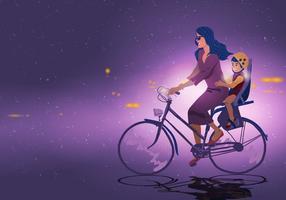 Mère et enfant en vélo vecteur