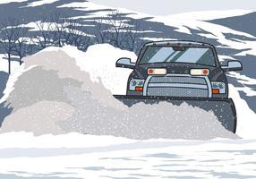 Chariot élévateur à charrue à neige vecteur