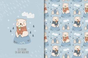 dessin animé, ours en peluche, manger, glace
