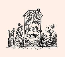 Hand Drawn Bienvenue Accueil Lettrage vecteur