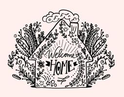 Hand Drawn Welcome Accueil Lettering Vector