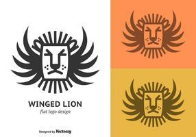 Logo de vecteur de lion à ailes plates gratuit