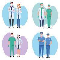 ensemble de travailleurs de la santé du personnel médical vecteur