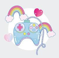 contrôle du jeu vidéo avec des arcs-en-ciel et des coeurs
