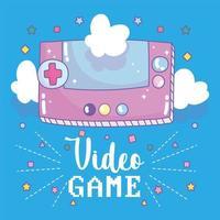 console de jeux vidéo portable avec lettrage et nuages vecteur