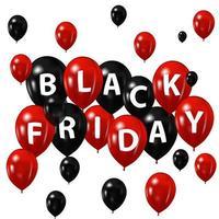 ballons noirs et rouges pour le vendredi noir vecteur