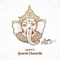 dessin au trait ganesh chaturthi face dans la conception d'art de croquis