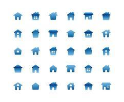 jeu d & # 39; icônes plat maison vecteur