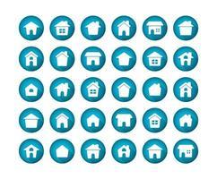 jeu d & # 39; icônes plat grandissime maison vecteur