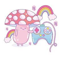 champignon tenant le contrôle du jeu vidéo