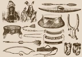 Outils amérindiens vecteur