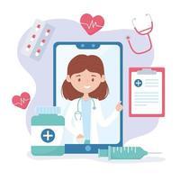 consultation en ligne pour les soins de santé et assistance aux prescriptions pharmaceutiques vecteur
