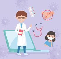assistance médicale en ligne sans contact vecteur