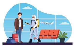 un travailleur de la biosécurité désinfecte l'aéroport pour covid 19 vecteur