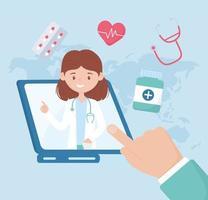 consultation de soins de santé en ligne et assistance avec une femme médecin vecteur