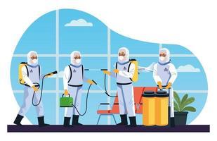 les travailleurs de la biosécurité désinfectent l'aéroport contre le coronavirus vecteur