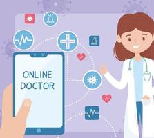 soins de santé en ligne avec une femme médecin vecteur