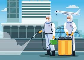 les travailleurs de la biosécurité désinfectent l'aéroport vecteur