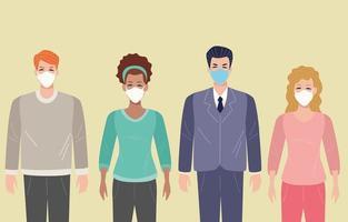 groupe de personnes utilisant un masque facial pour covid 19 vecteur