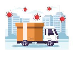 service de livraison par camion avec des particules de Covid 19 vecteur