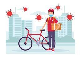 coursier avec service de livraison de vélos avec des particules covid 19 vecteur