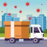 service de livraison de camion avec des particules de coronavirus