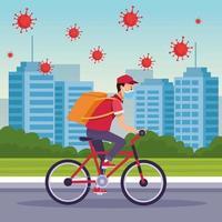coursier dans un vélo en service de livraison avec des particules de covid 19 vecteur