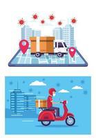 service de livraison en ligne avec covid 19 particules vecteur